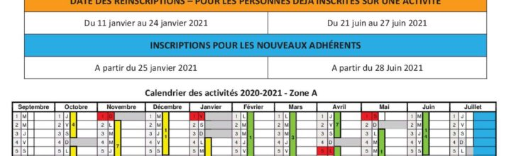 Planning 2020-2021 (hors réservation en ligne)