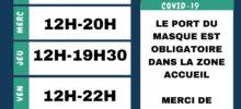 HORAIRES VACANCES À COMPTER DU MERCREDI 7 JUILLET